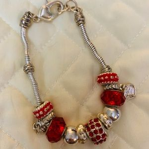 Silver Bracelet with Red Stone & Silver Charms